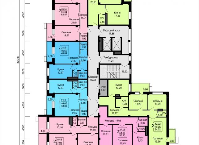 Планировки квартир, 16 этаж